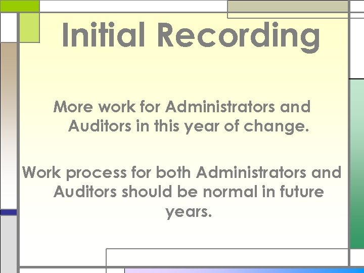 Initial Recording More work for Administrators and Auditors in this year of change. Work