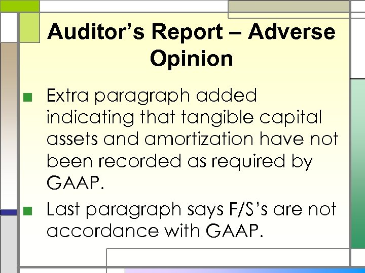 Auditor's Report – Adverse Opinion ■ Extra paragraph added indicating that tangible capital assets