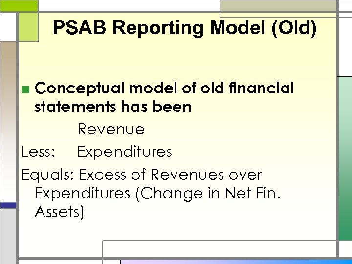PSAB Reporting Model (Old) ■ Conceptual model of old financial statements has been Revenue