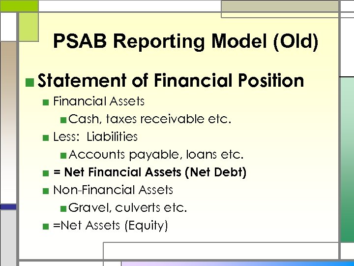 PSAB Reporting Model (Old) ■ Statement of Financial Position ■ Financial Assets ■ Cash,