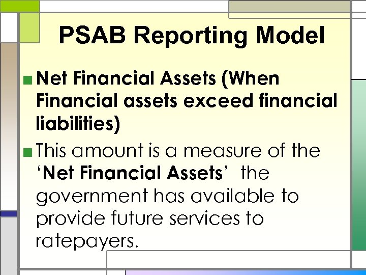 PSAB Reporting Model ■ Net Financial Assets (When Financial assets exceed financial liabilities) ■