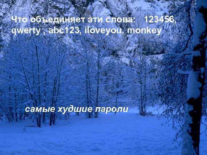 Что объединяет эти слова: 123456, qwerty , abc 123, iloveyou, monkey самые худшие пароли