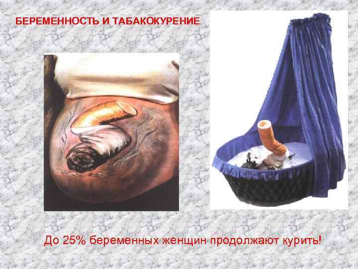 БЕРЕМЕННОСТЬ И ТАБАКОКУРЕНИЕ До 25% беременных женщин продолжают курить!