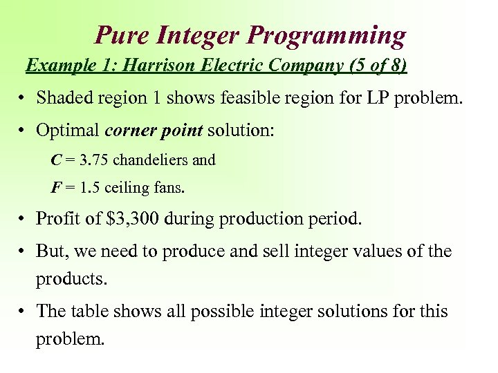 Pure Integer Programming Example 1: Harrison Electric Company (5 of 8) • Shaded region