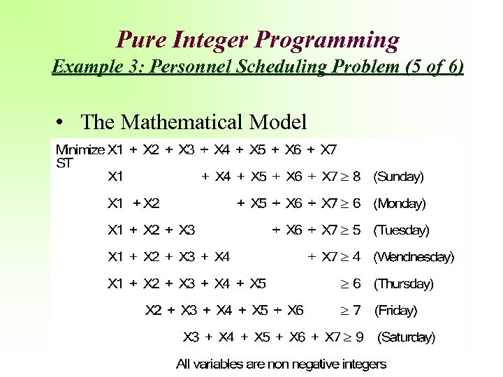 Pure Integer Programming Example 3: Personnel Scheduling Problem (5 of 6) • The Mathematical