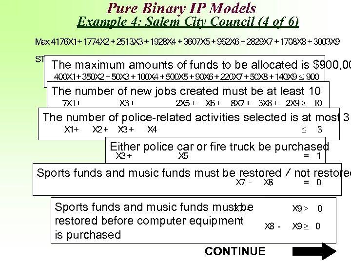 Pure Binary IP Models Example 4: Salem City Council (4 of 6) The maximum