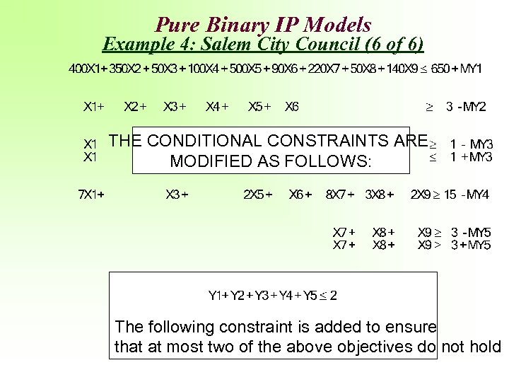 Pure Binary IP Models Example 4: Salem City Council (6 of 6) THE CONDITIONAL