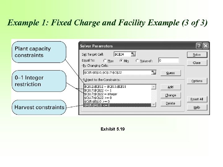 Example 1: Fixed Charge and Facility Example (3 of 3) Exhibit 5. 19