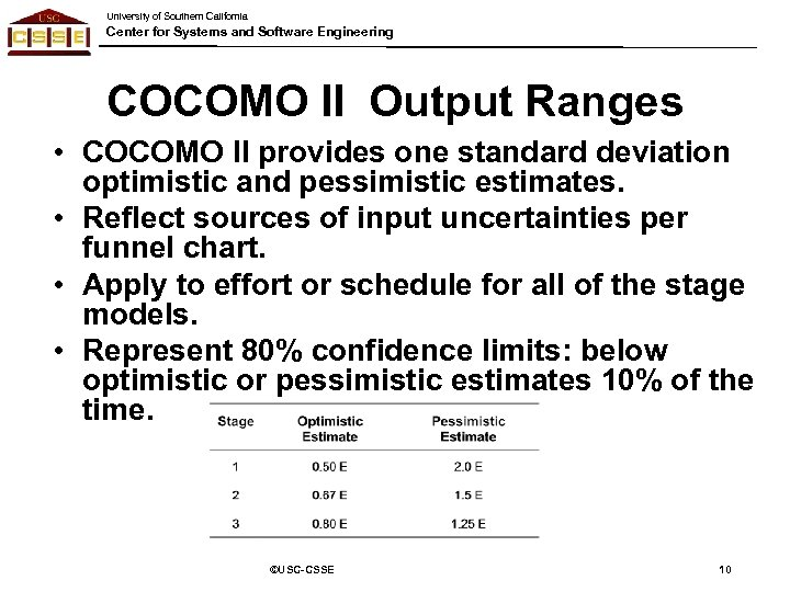 University of Southern California Center for Systems and Software Engineering COCOMO II Output Ranges