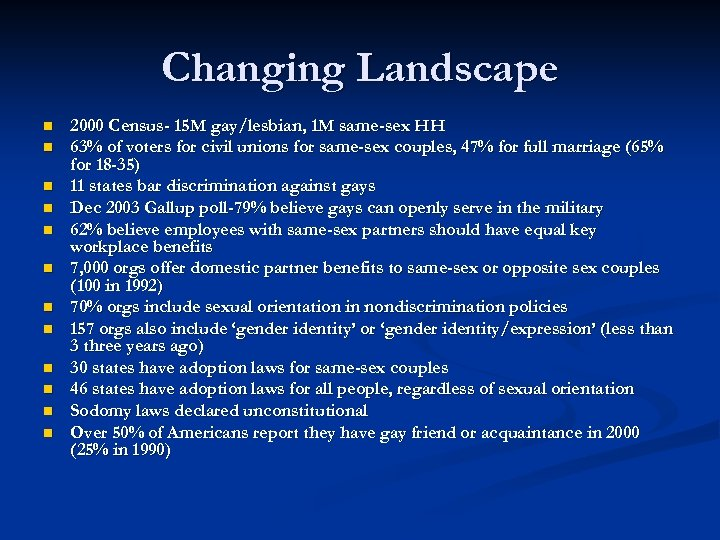 Changing Landscape n n n 2000 Census- 15 M gay/lesbian, 1 M same-sex HH