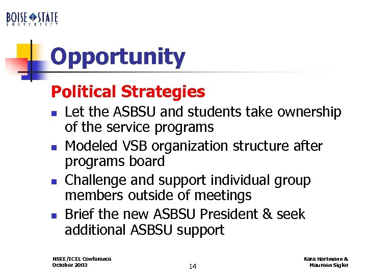 Opportunity Political Strategies n n Let the ASBSU and students take ownership of the