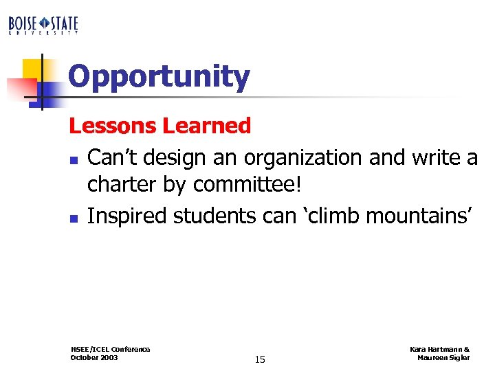 Opportunity Lessons Learned n Can't design an organization and write a charter by committee!