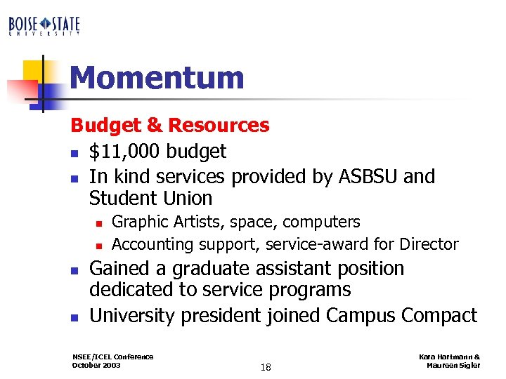 Momentum Budget & Resources n $11, 000 budget n In kind services provided by