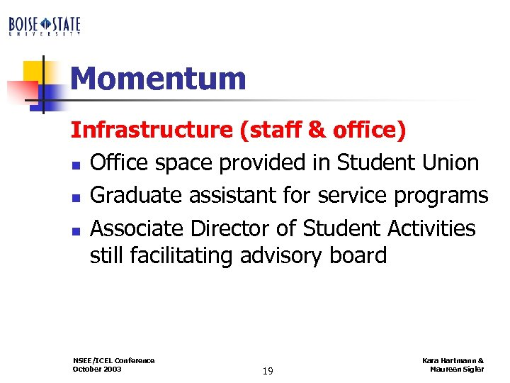 Momentum Infrastructure (staff & office) n Office space provided in Student Union n Graduate