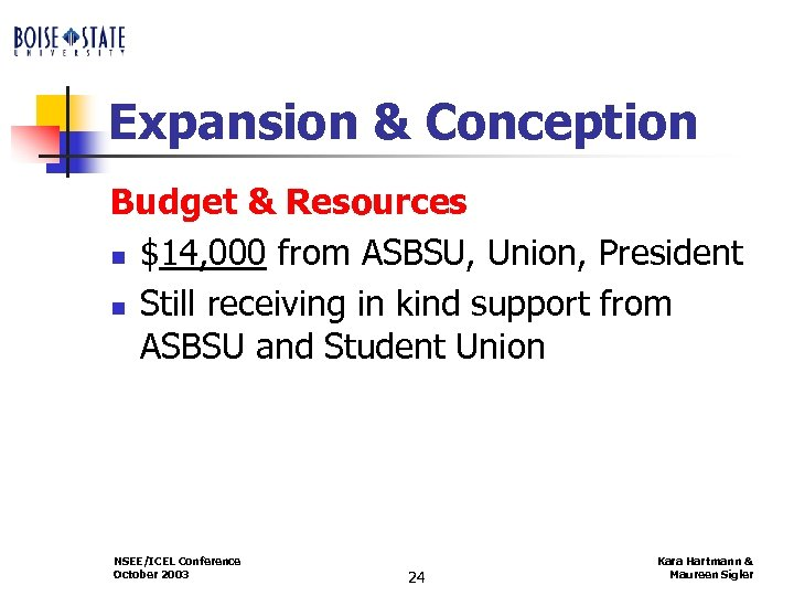 Expansion & Conception Budget & Resources n $14, 000 from ASBSU, Union, President n