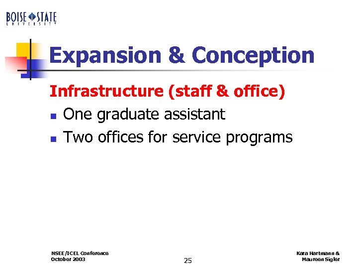 Expansion & Conception Infrastructure (staff & office) n One graduate assistant n Two offices