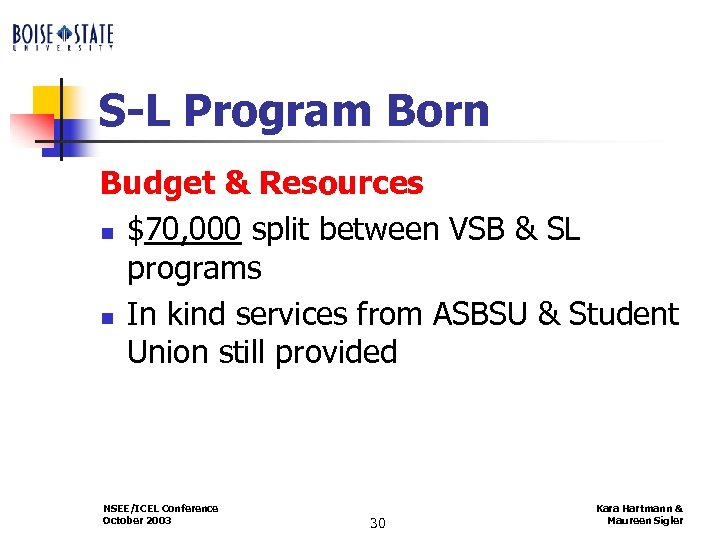 S-L Program Born Budget & Resources n $70, 000 split between VSB & SL
