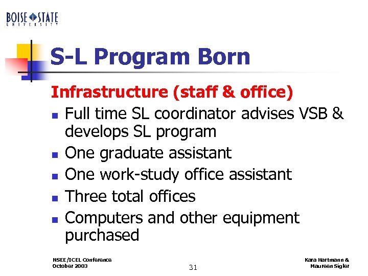 S-L Program Born Infrastructure (staff & office) n Full time SL coordinator advises VSB