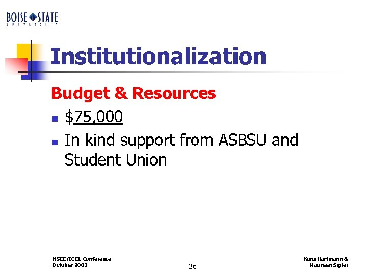 Institutionalization Budget & Resources n $75, 000 n In kind support from ASBSU and