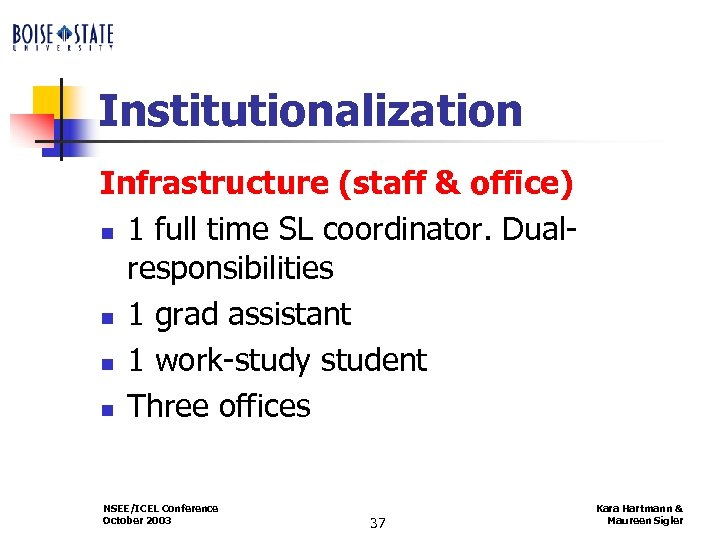Institutionalization Infrastructure (staff & office) n 1 full time SL coordinator. Dualresponsibilities n 1