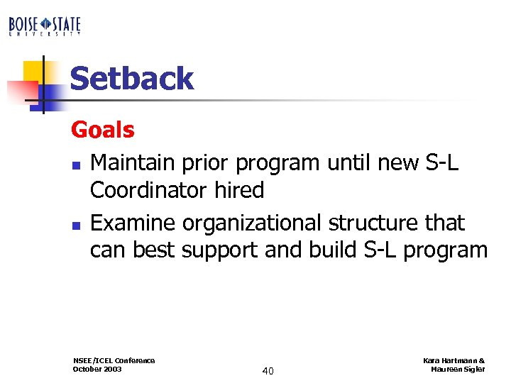 Setback Goals n Maintain prior program until new S-L Coordinator hired n Examine organizational