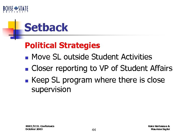 Setback Political Strategies n Move SL outside Student Activities n Closer reporting to VP
