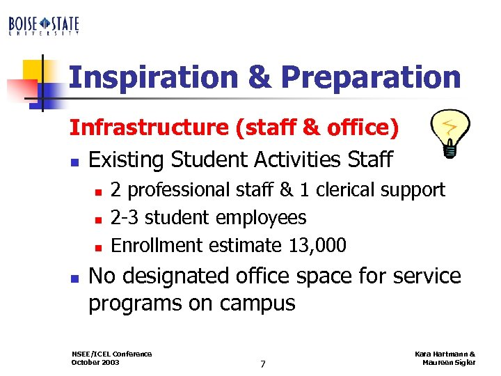 Inspiration & Preparation Infrastructure (staff & office) n Existing Student Activities Staff n n