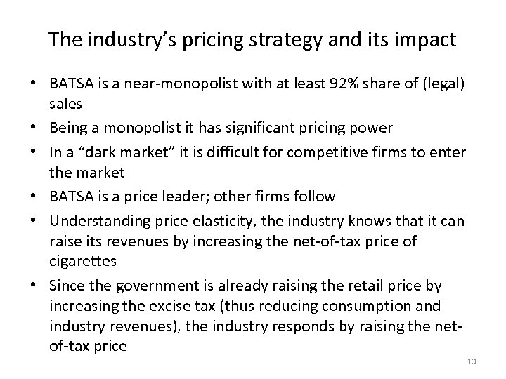 The industry's pricing strategy and its impact • BATSA is a near-monopolist with at