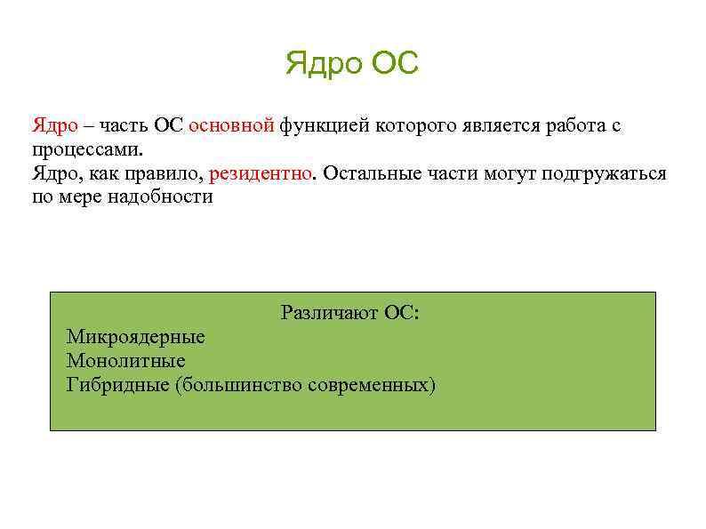 Ядро ОС Ядро – часть ОС основной функцией которого является работа с процессами. Ядро,