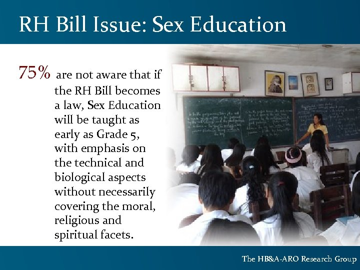 RH Bill Issue: Sex Education 75% are not aware that if the RH Bill