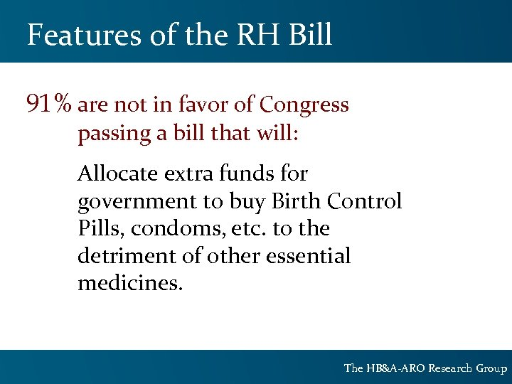 Features of the RH Bill 91% are not in favor of Congress passing a