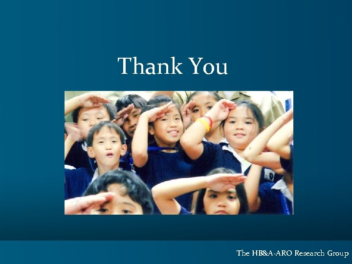 Thank You The HB&A-ARO Research Group