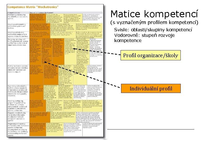 Matice kompetencí (s vyznačeným profilem kompetencí) Svisle: oblasti/skupiny kompetencí Vodorovně: stupeň rozvoje kompetence Profil