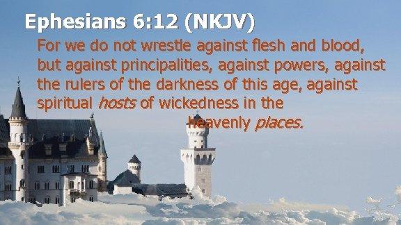 Ephesians 6: 12 (NKJV) For we do not wrestle against flesh and blood, but