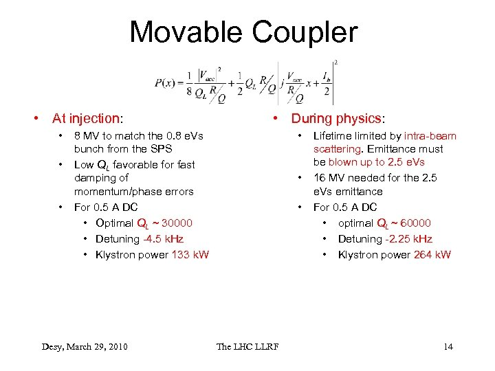 Movable Coupler • At injection: • • During physics: • 8 MV to match