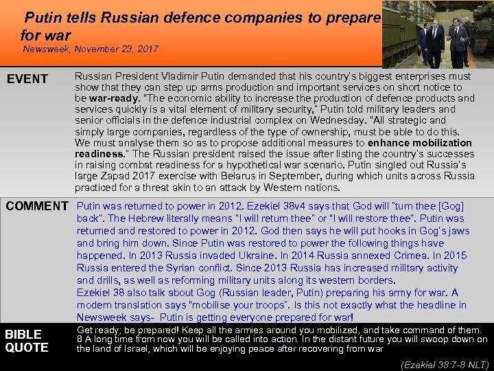 Putin tells Russian defence companies to prepare for war Newsweek, November 23, 2017 EVENT
