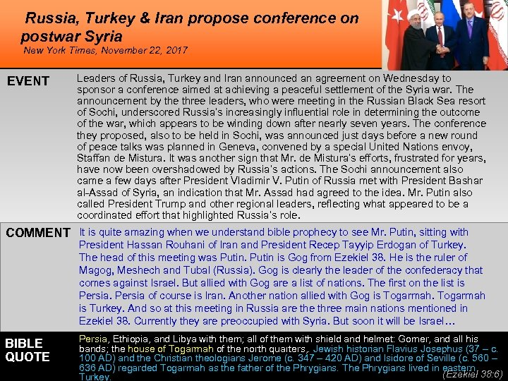 Russia, Turkey & Iran propose conference on postwar Syria New York Times, November 22,