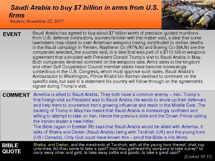 Saudi Arabia to buy $7 billion in arms from U. S. firms Reuters, November