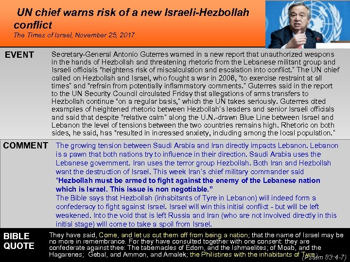 UN chief warns risk of a new Israeli-Hezbollah conflict The Times of Israel, November