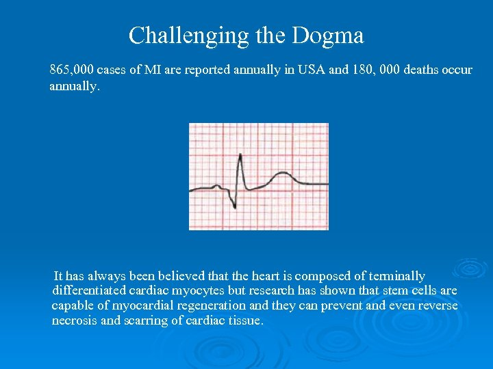 Challenging the Dogma 865, 000 cases of MI are reported annually in USA and