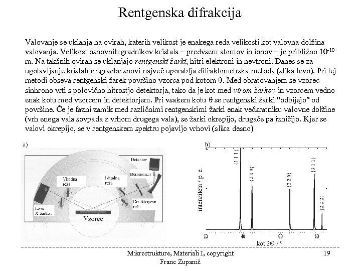 Rentgenska difrakcija Valovanje se uklanja na ovirah, katerih velikost je enakega reda velikosti kot