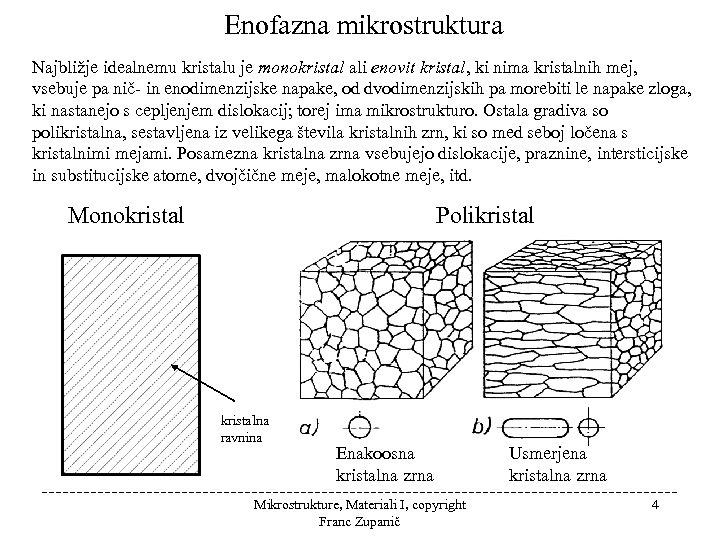 Enofazna mikrostruktura Najbližje idealnemu kristalu je monokristal ali enovit kristal, ki nima kristalnih mej,
