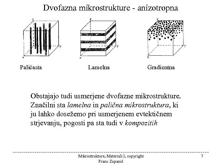Dvofazna mikrostrukture - anizotropna Paličasta Lamelna Gradientna Obstajajo tudi usmerjene dvofazne mikrostrukture. Značilni sta