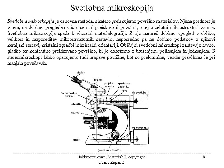 Svetlobna mikroskopija je osnovna metoda, s katero preiskujemo površino materialov. Njena prednost je v