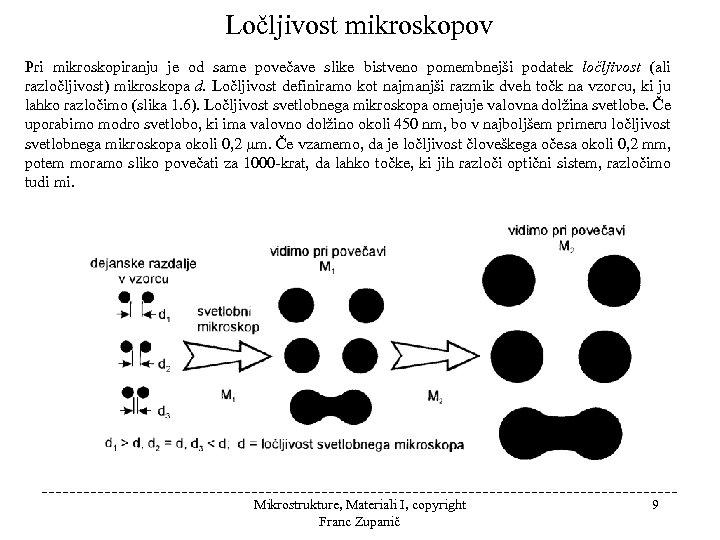 Ločljivost mikroskopov Pri mikroskopiranju je od same povečave slike bistveno pomembnejši podatek ločljivost (ali