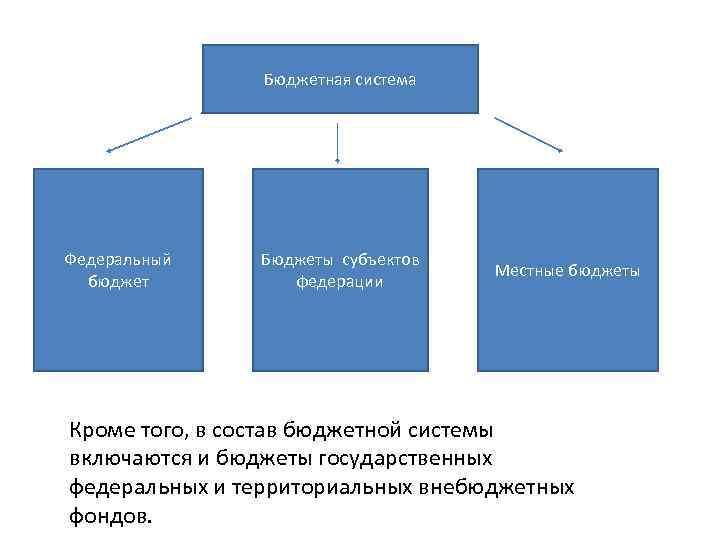 Бюджетная система Федеральный бюджет Бюджеты субъектов федерации Местные бюджеты Кроме того, в состав бюджетной