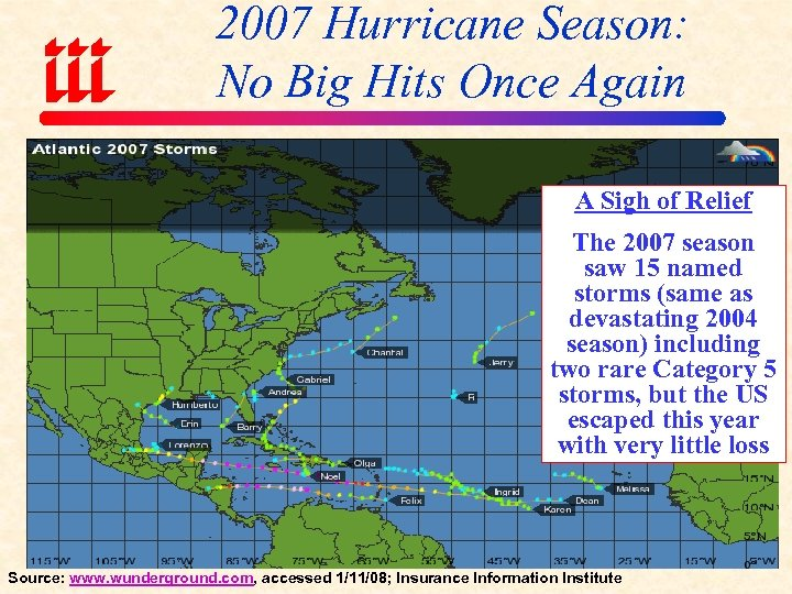 2007 Hurricane Season: No Big Hits Once Again A Sigh of Relief The 2007