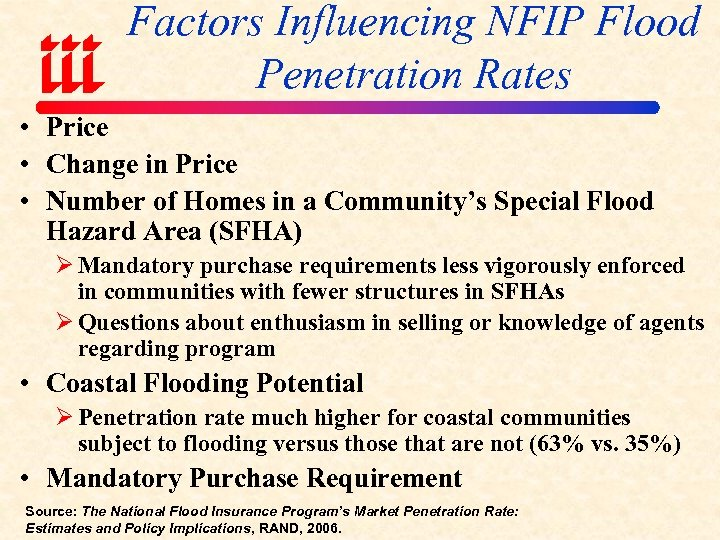 Factors Influencing NFIP Flood Penetration Rates • Price • Change in Price • Number