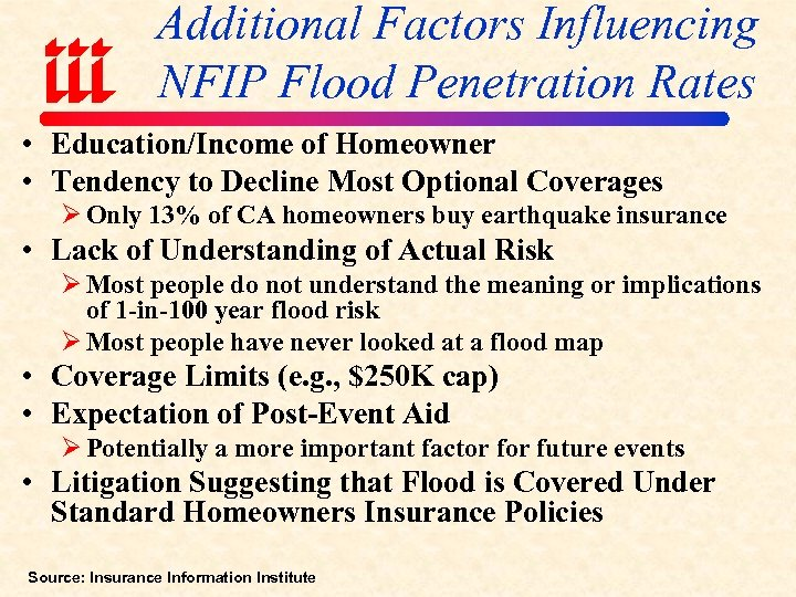 Additional Factors Influencing NFIP Flood Penetration Rates • Education/Income of Homeowner • Tendency to