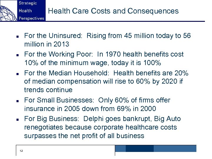 Health Care Costs and Consequences For the Uninsured: Rising from 45 million today to